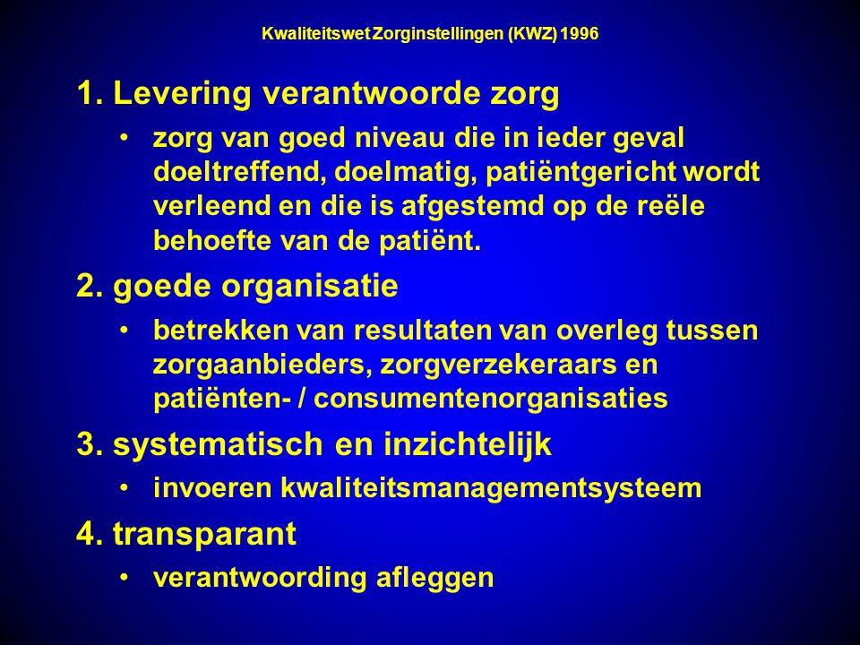 Kwaliteitswet Zorginstellingen (KWZ) 1996 1. Levering verantwoorde zorg zorg van goed niveau die in ieder geval doeltreffend, doelmatig, patiëntgerich