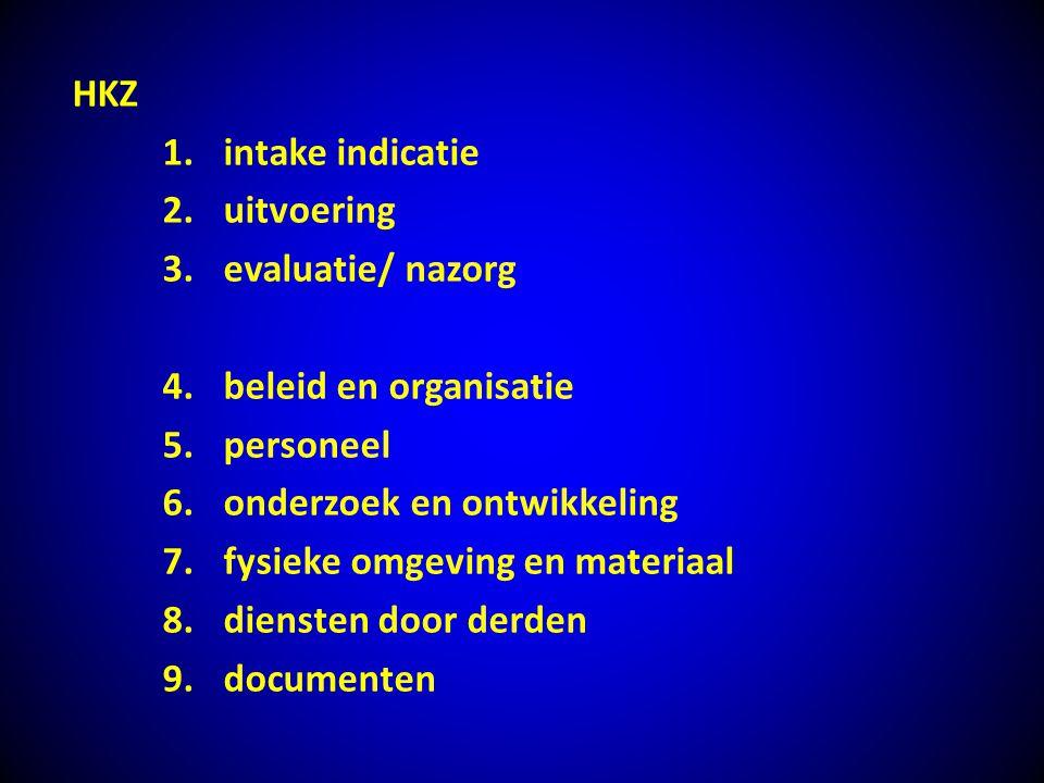 HKZ 1.intake indicatie 2.uitvoering 3.evaluatie/ nazorg 4.beleid en organisatie 5.personeel 6.onderzoek en ontwikkeling 7.fysieke omgeving en materiaa