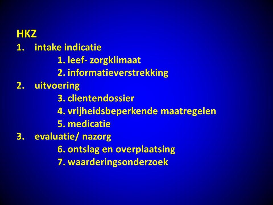 HKZ 1.intake indicatie 1.leef- zorgklimaat 2.informatieverstrekking 2.uitvoering 3.clientendossier 4.vrijheidsbeperkende maatregelen 5.medicatie 3.eva