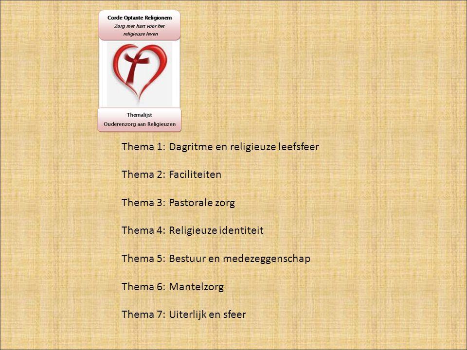Thema 1: Dagritme en religieuze leefsfeer Thema 2: Faciliteiten Thema 3: Pastorale zorg Thema 4: Religieuze identiteit Thema 5: Bestuur en medezeggenschap Thema 6: Mantelzorg Thema 7: Uiterlijk en sfeer