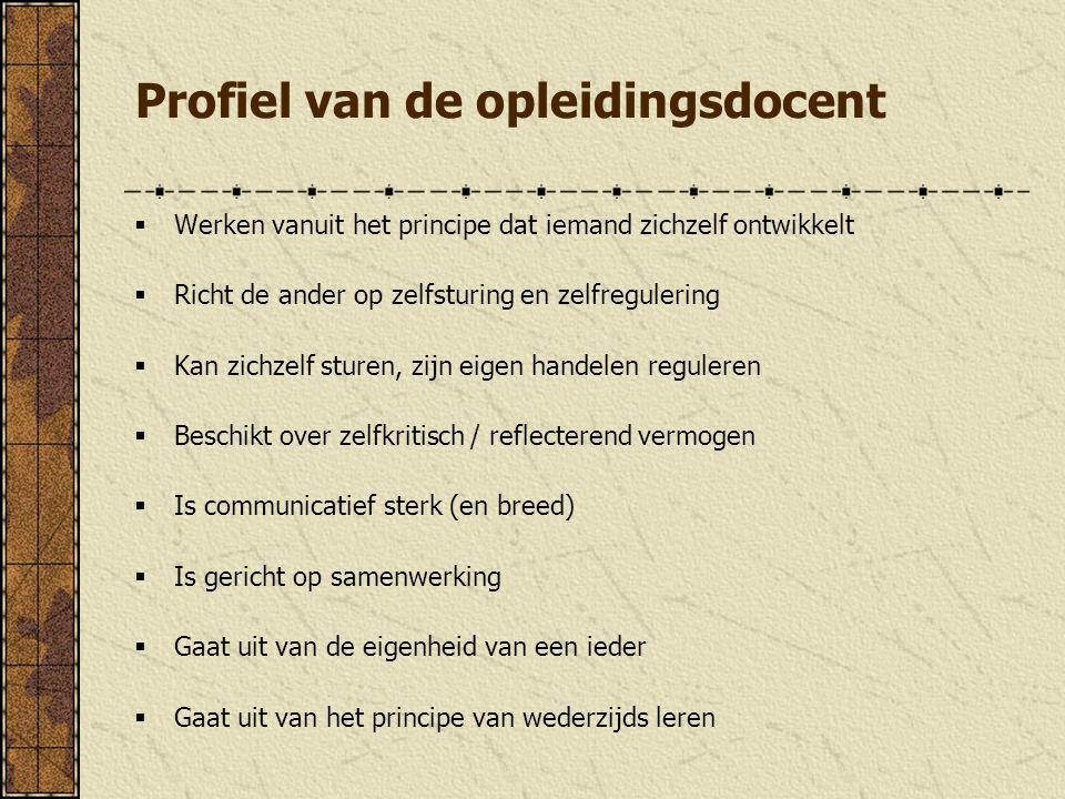 Profiel van de opleidingsdocent  Werken vanuit het principe dat iemand zichzelf ontwikkelt  Richt de ander op zelfsturing en zelfregulering  Kan zi