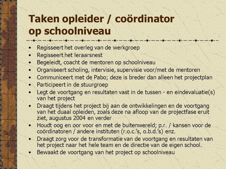 Taken opleider / coördinator op schoolniveau Regisseert het overleg van de werkgroep Regisseert het leraarsnest Begeleidt, coacht de mentoren op schoo