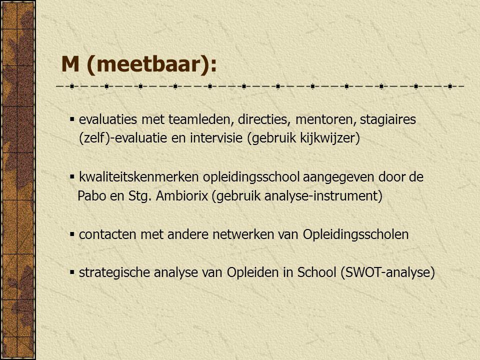 M (meetbaar):  evaluaties met teamleden, directies, mentoren, stagiaires (zelf)-evaluatie en intervisie (gebruik kijkwijzer)  kwaliteitskenmerken op