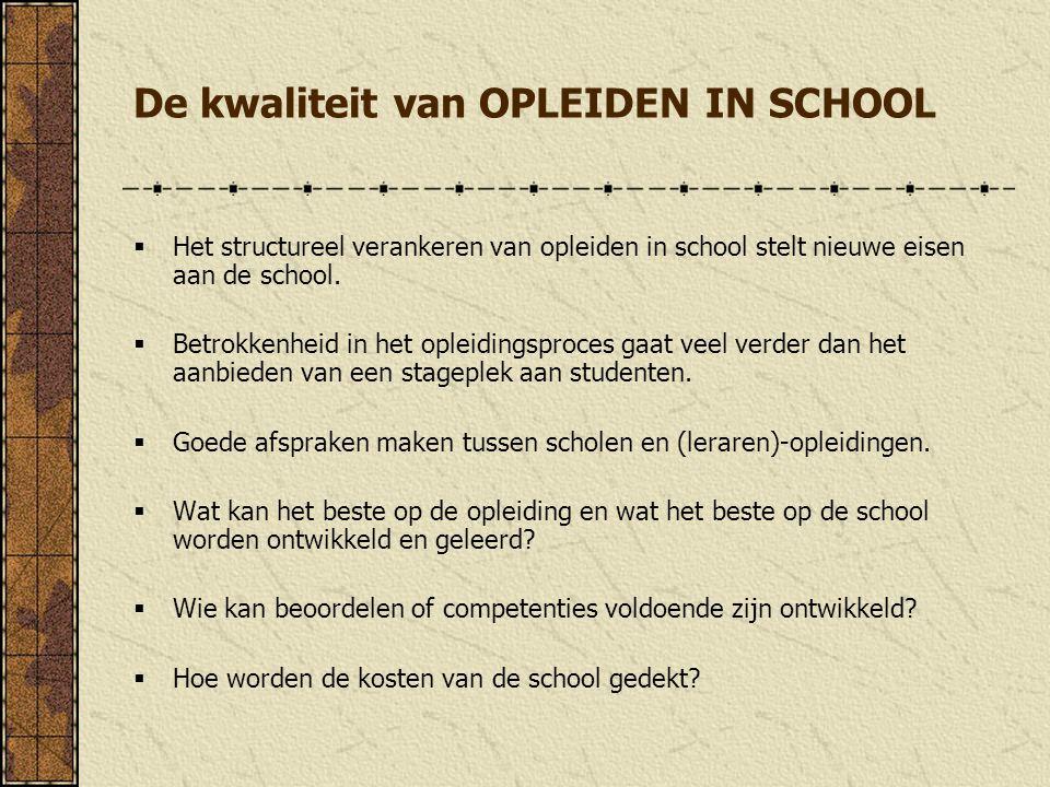 De kwaliteit van OPLEIDEN IN SCHOOL  Het structureel verankeren van opleiden in school stelt nieuwe eisen aan de school.  Betrokkenheid in het oplei