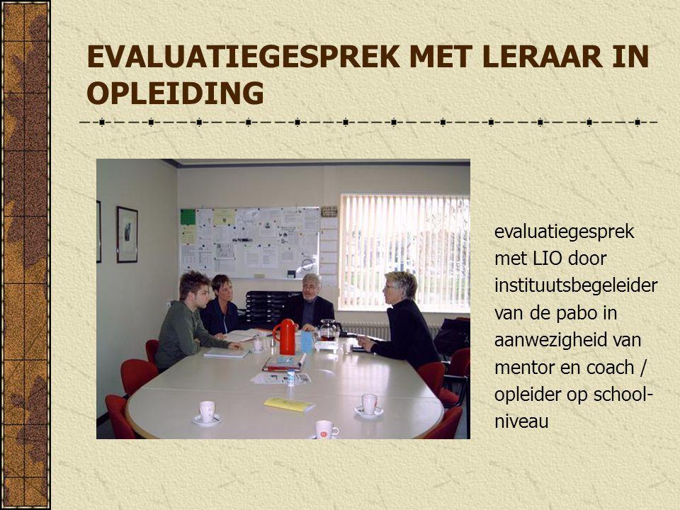 EVALUATIEGESPREK MET LERAAR IN OPLEIDING evaluatiegesprek met LIO door instituutsbegeleider van de pabo in aanwezigheid van mentor en coach / opleider