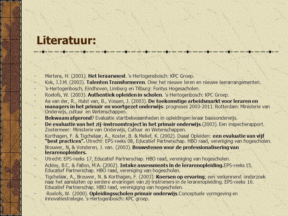 Literatuur: -Mertens, H. (2001). Het leraarsnest. 's-Hertogensbosch: KPC Groep. -Kok, J.J.M. (2003). Talenten Transformeren. Over het nieuwe leren en
