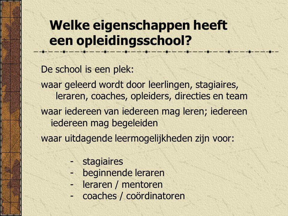 Welke eigenschappen heeft een opleidingsschool? De school is een plek: waar geleerd wordt door leerlingen, stagiaires, leraren, coaches, opleiders, di