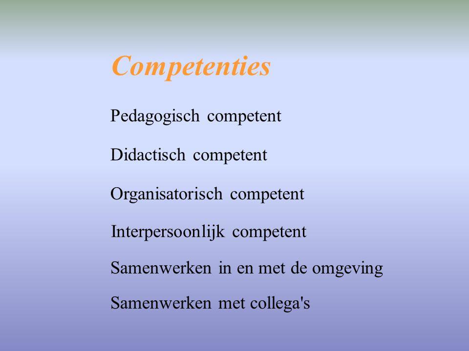 Competenties Pedagogisch competent Didactisch competent Organisatorisch competent Interpersoonlijk competent Samenwerken met collega's Samenwerken in