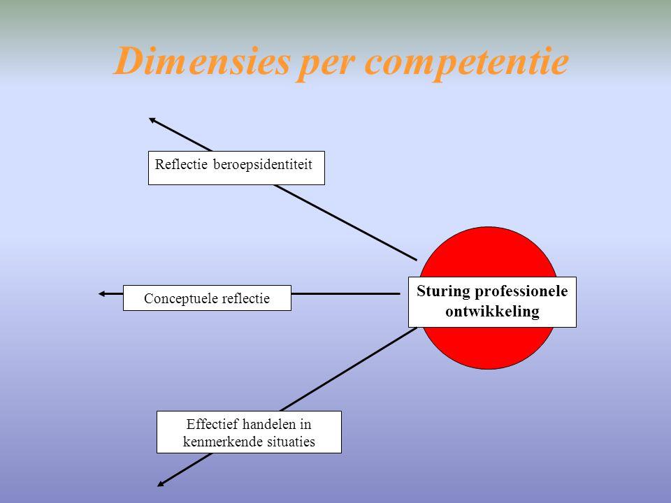 Dimensies per competentie Sturing professionele ontwikkeling Reflectie beroepsidentiteit Conceptuele reflectie Effectief handelen in kenmerkende situa