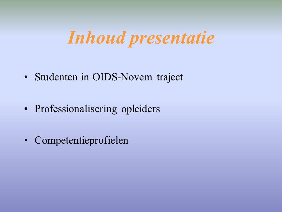 Inhoud presentatie Studenten in OIDS-Novem traject Professionalisering opleiders Competentieprofielen