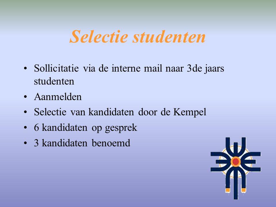 Selectie studenten Sollicitatie via de interne mail naar 3de jaars studenten Aanmelden Selectie van kandidaten door de Kempel 6 kandidaten op gesprek
