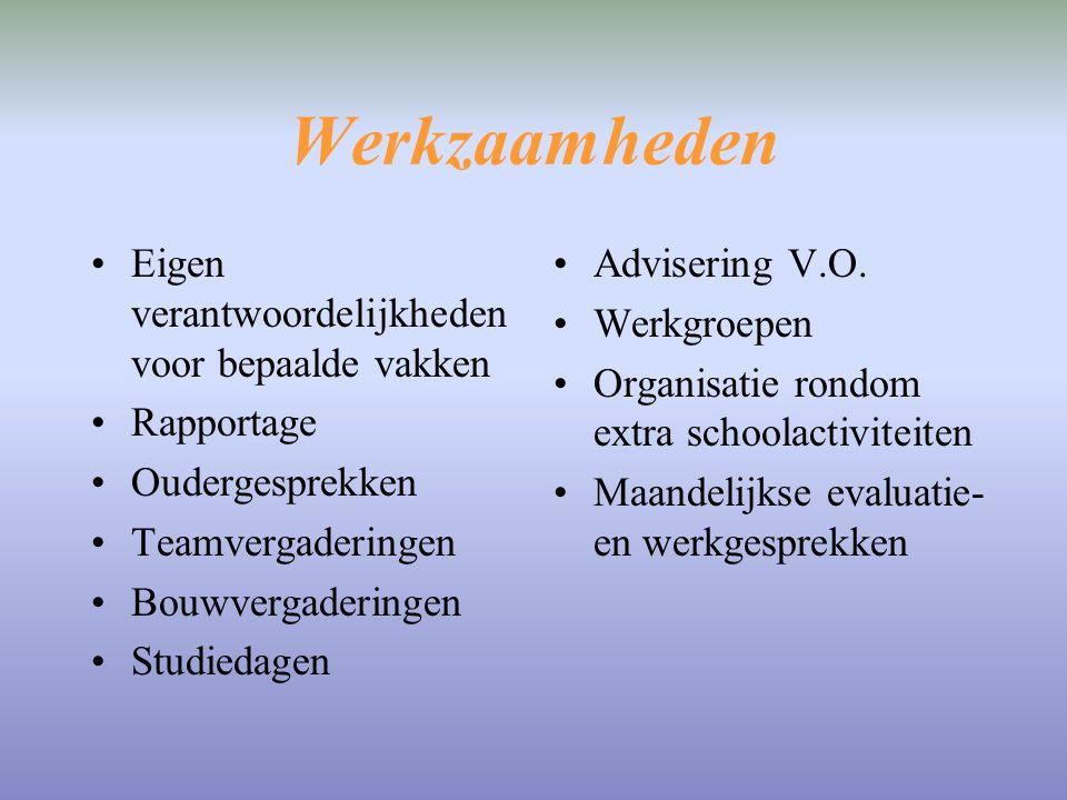 Werkzaamheden Eigen verantwoordelijkheden voor bepaalde vakken Rapportage Oudergesprekken Teamvergaderingen Bouwvergaderingen Studiedagen Advisering V