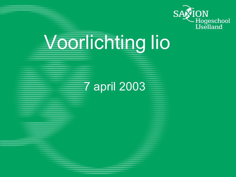 Voorlichting lio 7 april 2003