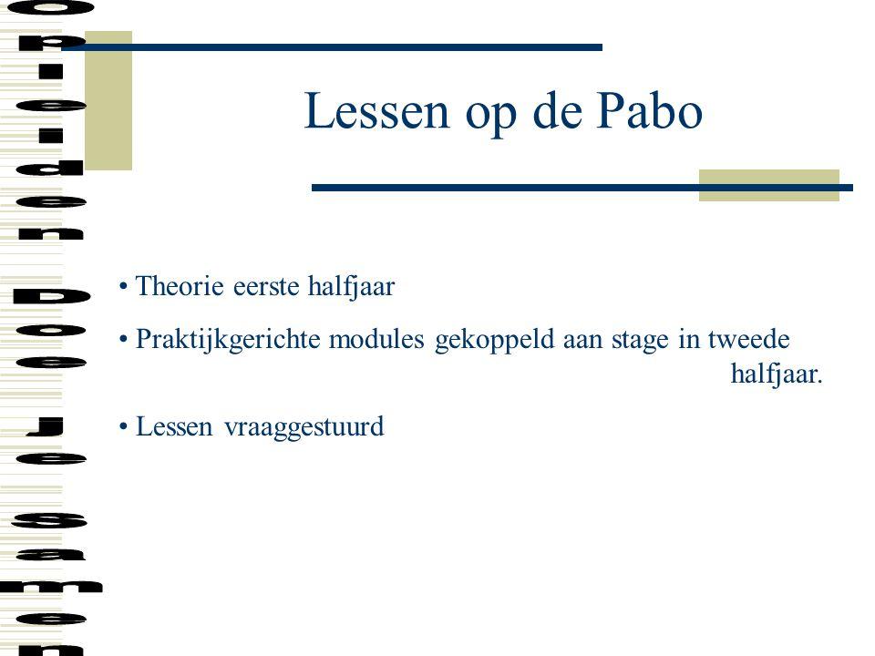 Lessen op de Pabo Theorie eerste halfjaar Praktijkgerichte modules gekoppeld aan stage in tweede halfjaar. Lessen vraaggestuurd