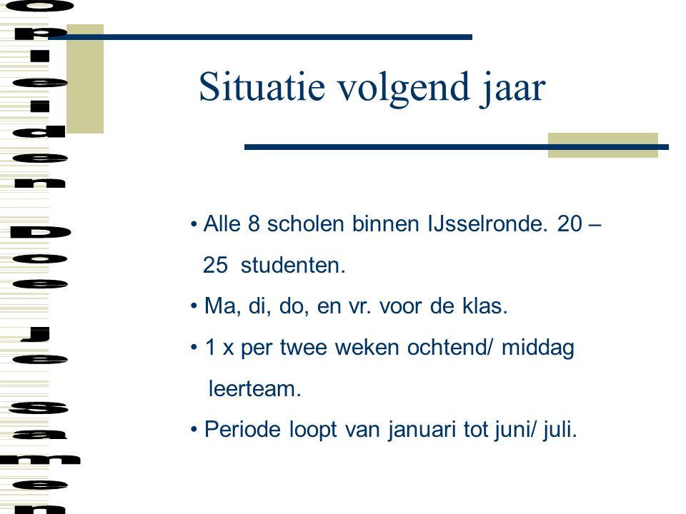 Situatie volgend jaar Alle 8 scholen binnen IJsselronde. 20 – 25 studenten. Ma, di, do, en vr. voor de klas. 1 x per twee weken ochtend/ middag leerte