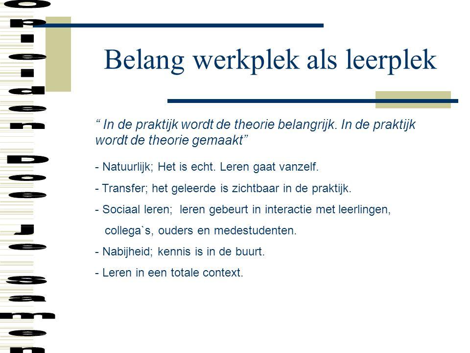 """Belang werkplek als leerplek """" In de praktijk wordt de theorie belangrijk. In de praktijk wordt de theorie gemaakt"""" - Natuurlijk; Het is echt. Leren g"""