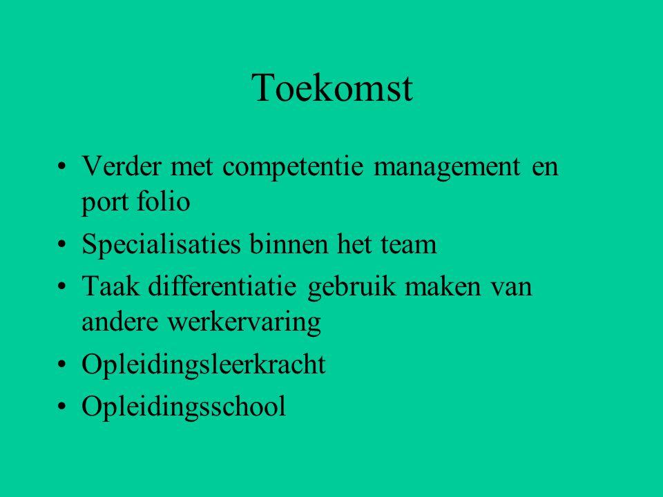 Toekomst Verder met competentie management en port folio Specialisaties binnen het team Taak differentiatie gebruik maken van andere werkervaring Opleidingsleerkracht Opleidingsschool