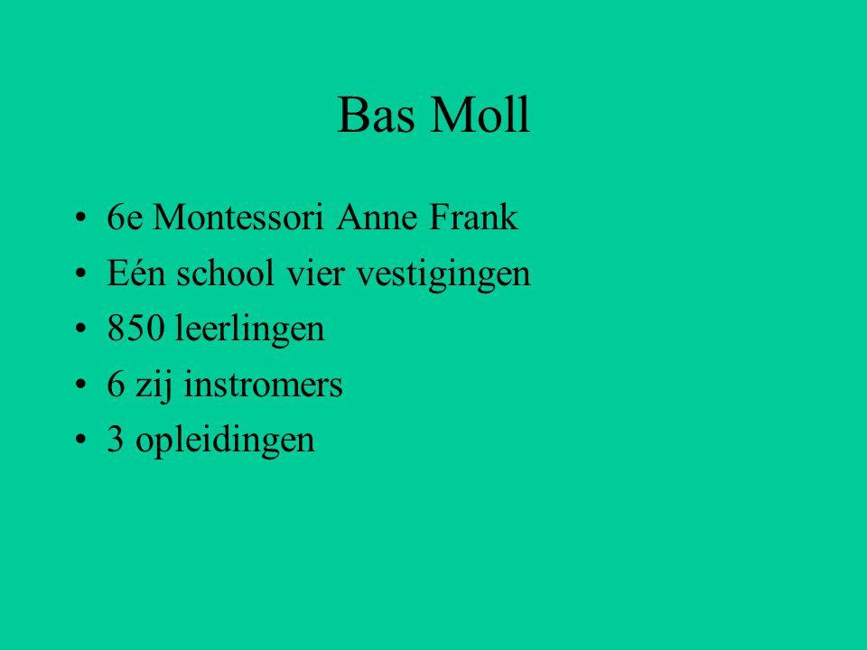 Bas Moll 6e Montessori Anne Frank Eén school vier vestigingen 850 leerlingen 6 zij instromers 3 opleidingen