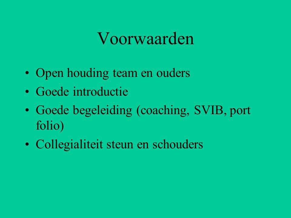 Voorwaarden Open houding team en ouders Goede introductie Goede begeleiding (coaching, SVIB, port folio) Collegialiteit steun en schouders