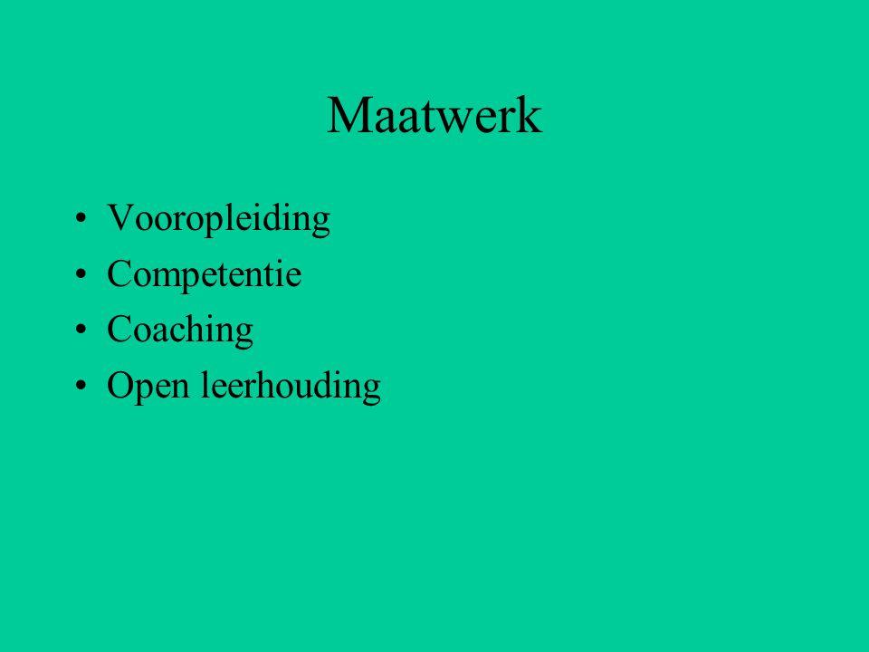 Maatwerk Vooropleiding Competentie Coaching Open leerhouding