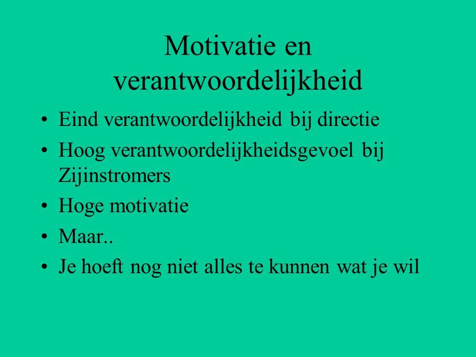 Motivatie en verantwoordelijkheid Eind verantwoordelijkheid bij directie Hoog verantwoordelijkheidsgevoel bij Zijinstromers Hoge motivatie Maar..