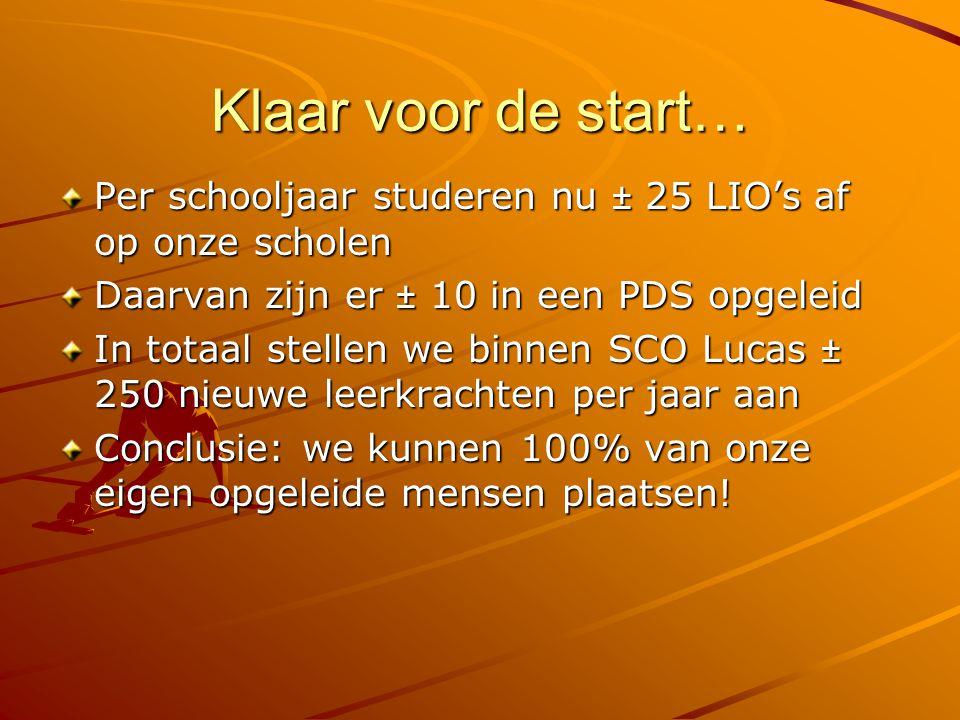 Klaar voor de start… Per schooljaar studeren nu ± 25 LIO's af op onze scholen Daarvan zijn er ± 10 in een PDS opgeleid In totaal stellen we binnen SCO