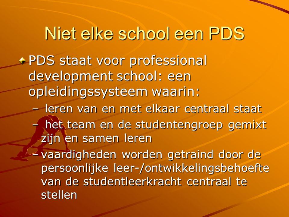 Niet elke school een PDS PDS staat voor professional development school: een opleidingssysteem waarin: – leren van en met elkaar centraal staat – het