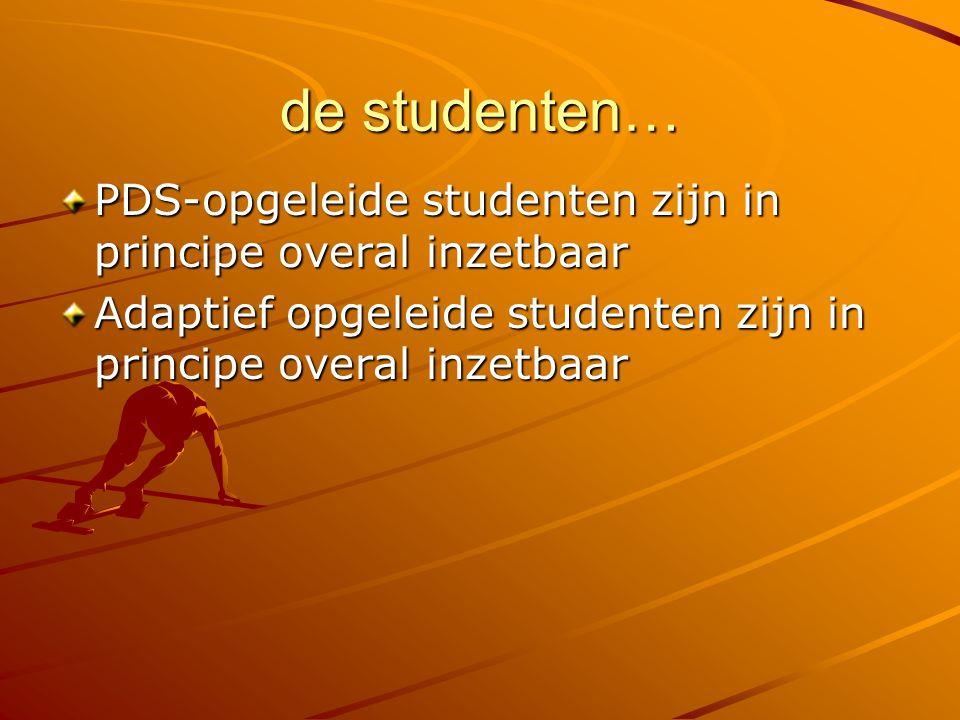 de studenten… PDS-opgeleide studenten zijn in principe overal inzetbaar Adaptief opgeleide studenten zijn in principe overal inzetbaar
