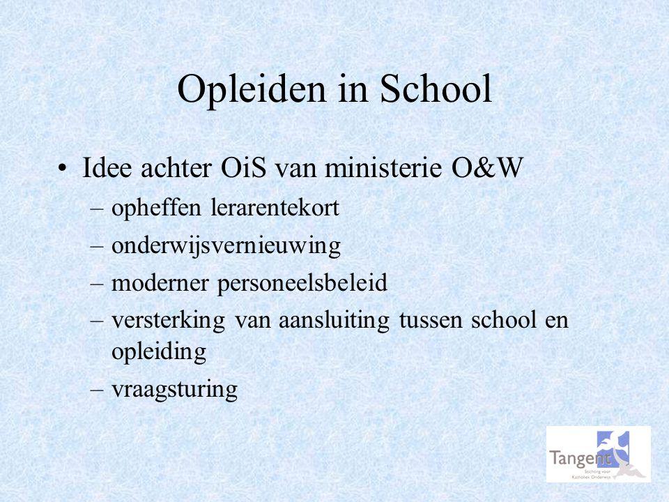 Opleiden in School Idee achter OiS van ministerie O&W –opheffen lerarentekort –onderwijsvernieuwing –moderner personeelsbeleid –versterking van aanslu