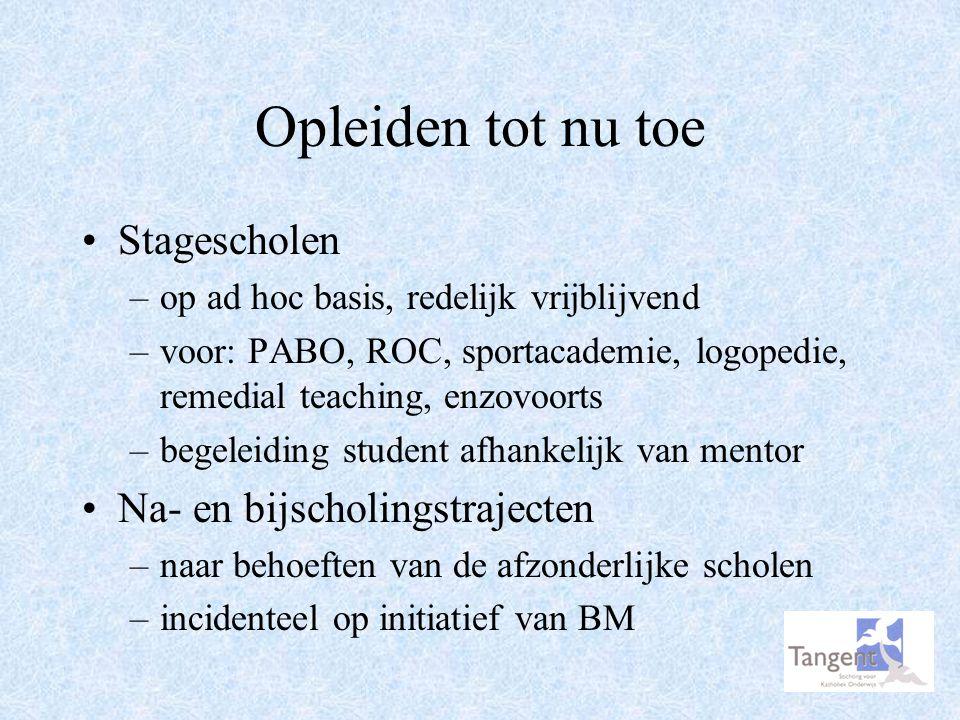 Keuze van partners Huidige situatie: –elke school bepaalt zelf van welke opleiding studenten worden toegelaten Toekomst: –contract met PABO Tilburg over aantal studenten en begeleiding ervan –beperkte ruimte voor eigen beleid