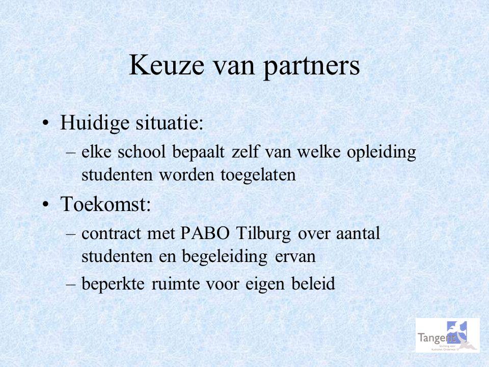 Keuze van partners Huidige situatie: –elke school bepaalt zelf van welke opleiding studenten worden toegelaten Toekomst: –contract met PABO Tilburg ov