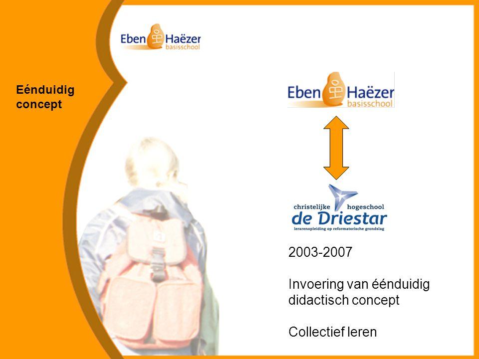 Eénduidig concept 2003-2007 Invoering van éénduidig didactisch concept Collectief leren