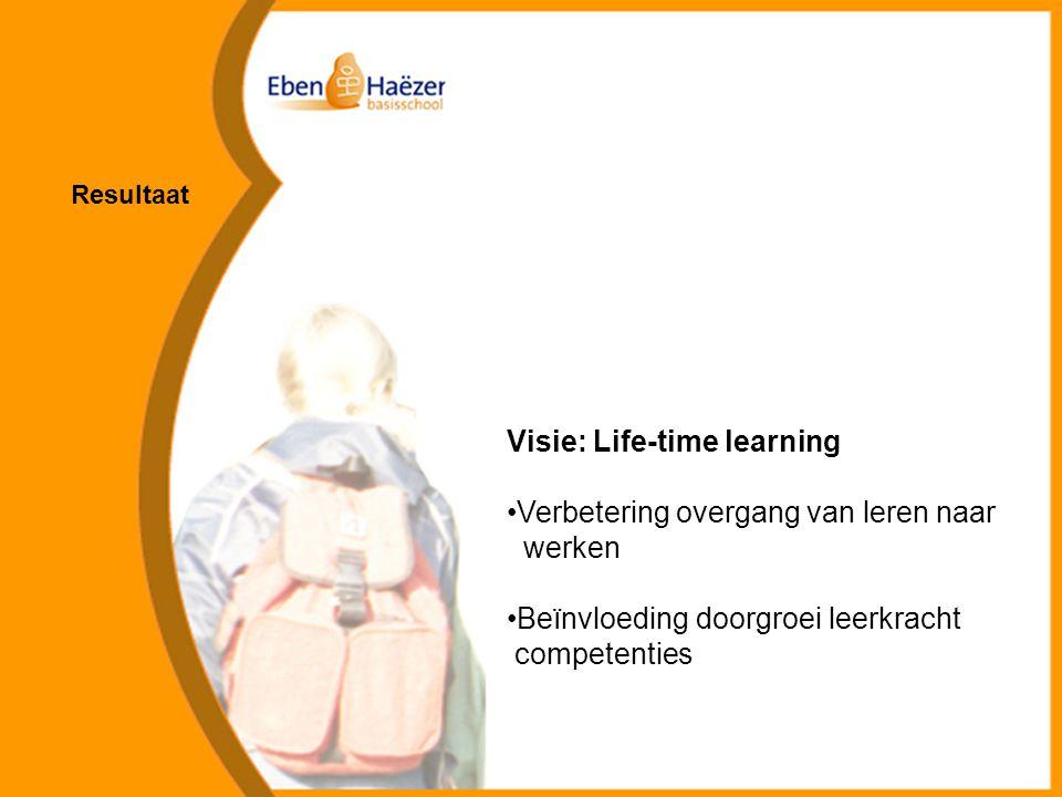 Visie: Life-time learning Verbetering overgang van leren naar werken Beïnvloeding doorgroei leerkracht competenties Resultaat