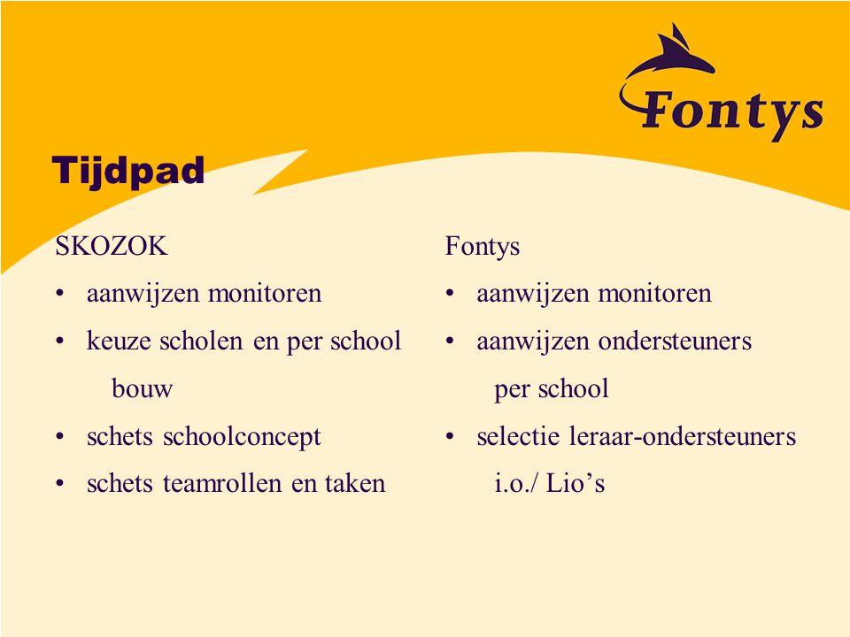 Tijdpad SKOZOK aanwijzen monitoren keuze scholen en per school bouw schets schoolconcept schets teamrollen en taken Fontys aanwijzen monitoren aanwijz