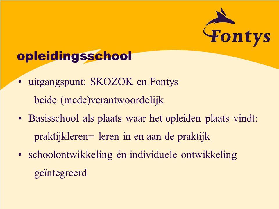 opleidingsschool uitgangspunt: SKOZOK en Fontys beide (mede)verantwoordelijk Basisschool als plaats waar het opleiden plaats vindt: praktijkleren= ler