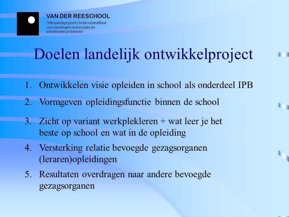 VAN DER REESCHOOL Orthopedagogisch Onderwijsinstituut voor leerlingen met sociale en emotionele problemen Doelen landelijk ontwikkelproject 1. Ontwikk