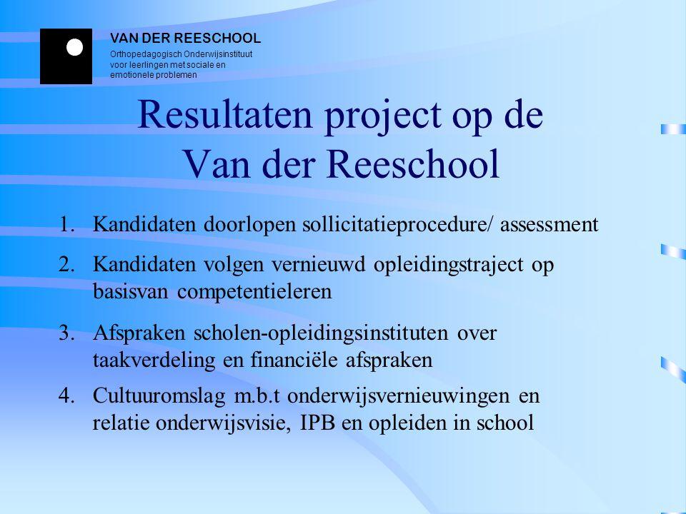 VAN DER REESCHOOL Orthopedagogisch Onderwijsinstituut voor leerlingen met sociale en emotionele problemen Resultaten project op de Van der Reeschool 1