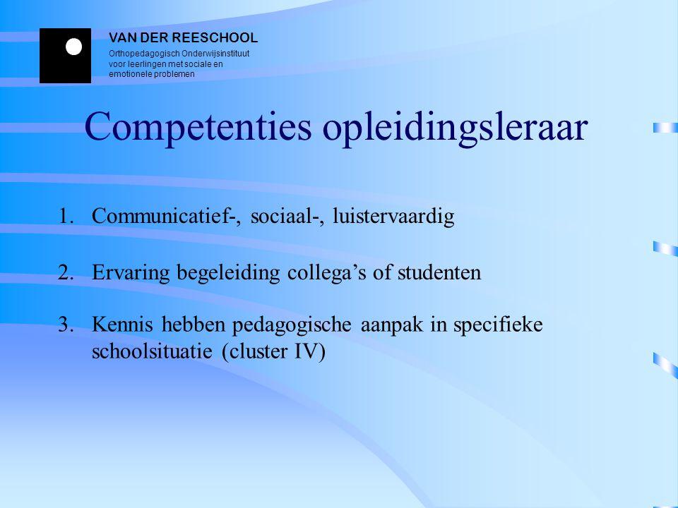 VAN DER REESCHOOL Orthopedagogisch Onderwijsinstituut voor leerlingen met sociale en emotionele problemen Competenties opleidingsleraar 1. Communicati