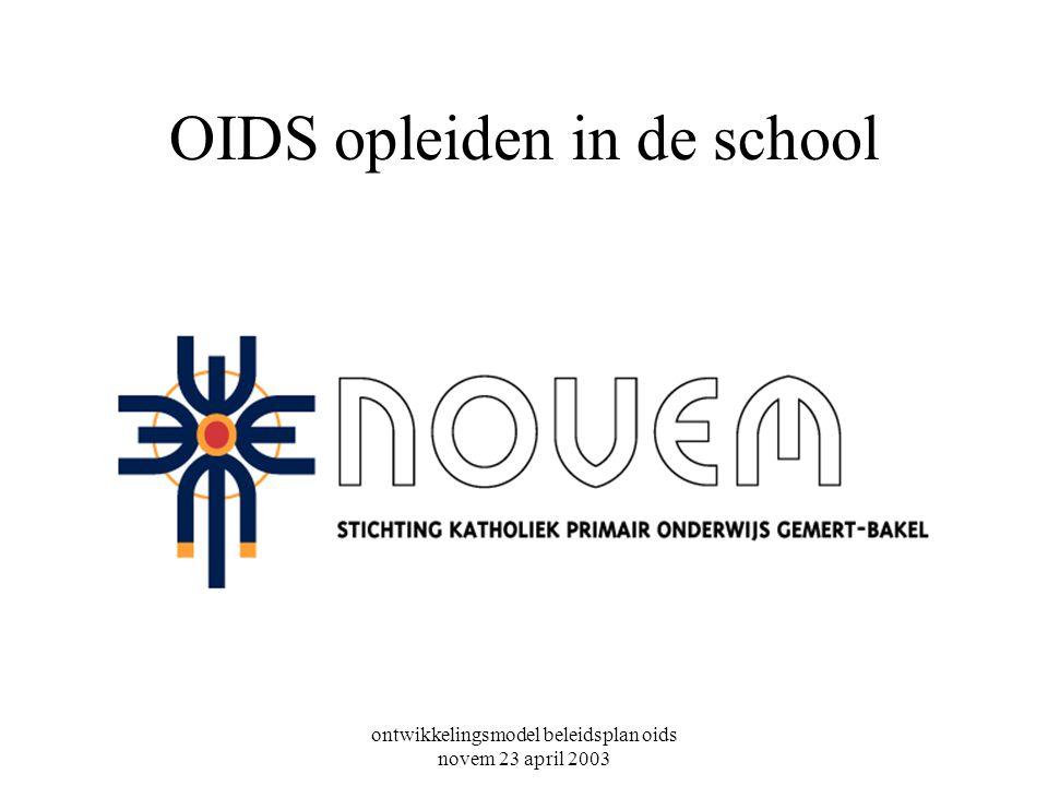 ontwikkelingsmodel beleidsplan oids novem 23 april 2003 OIDS opleiden in de school
