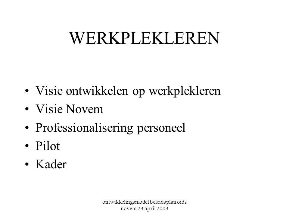 WERKPLEKLEREN Visie ontwikkelen op werkplekleren Visie Novem Professionalisering personeel Pilot Kader