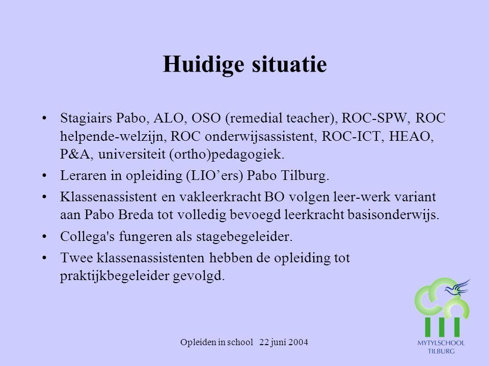 Opleiden in school 22 juni 2004 Huidige situatie Stagiairs Pabo, ALO, OSO (remedial teacher), ROC-SPW, ROC helpende-welzijn, ROC onderwijsassistent, R