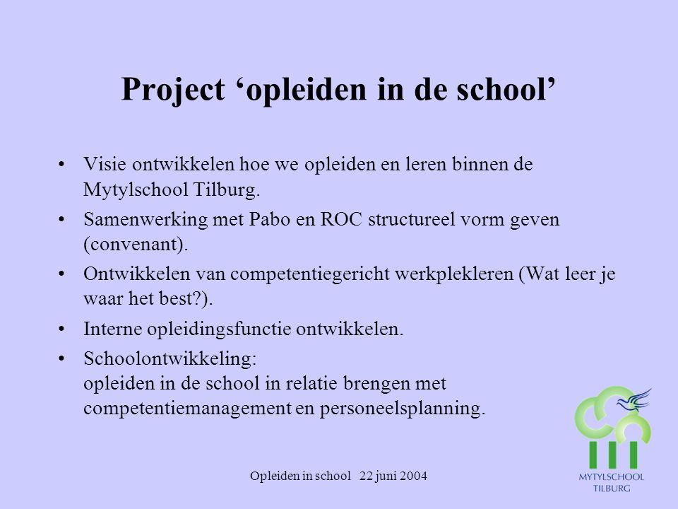 Opleiden in school 22 juni 2004 Project 'opleiden in de school' Visie ontwikkelen hoe we opleiden en leren binnen de Mytylschool Tilburg. Samenwerking