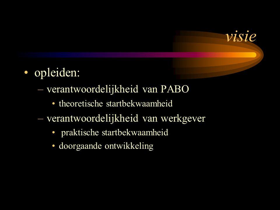 visie opleiden: –verantwoordelijkheid van PABO theoretische startbekwaamheid –verantwoordelijkheid van werkgever praktische startbekwaamheid doorgaand