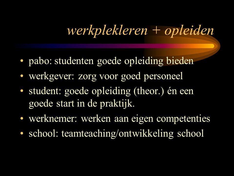 werkplekleren + opleiden pabo: studenten goede opleiding bieden werkgever: zorg voor goed personeel student: goede opleiding (theor.) én een goede sta