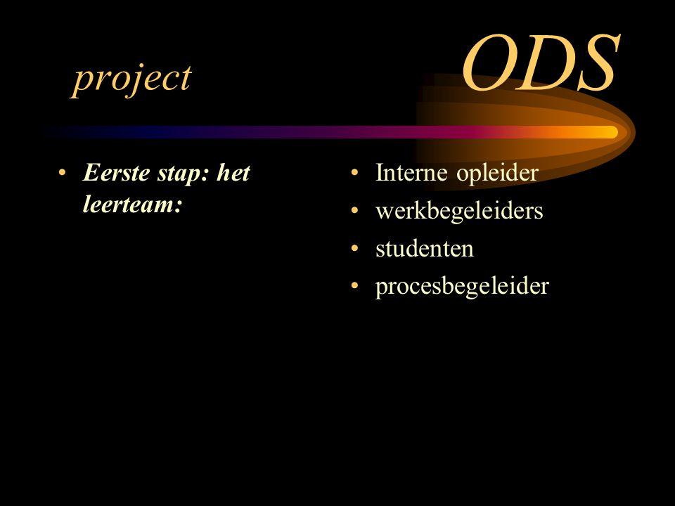 project ODS Eerste stap: het leerteam: Interne opleider werkbegeleiders studenten procesbegeleider