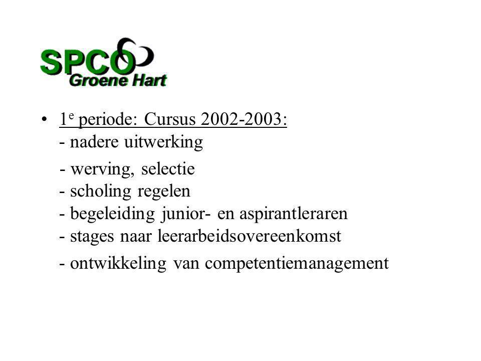 1 e periode: Cursus 2002-2003: - nadere uitwerking - werving, selectie - scholing regelen - begeleiding junior- en aspirantleraren - stages naar leerarbeidsovereenkomst - ontwikkeling van competentiemanagement