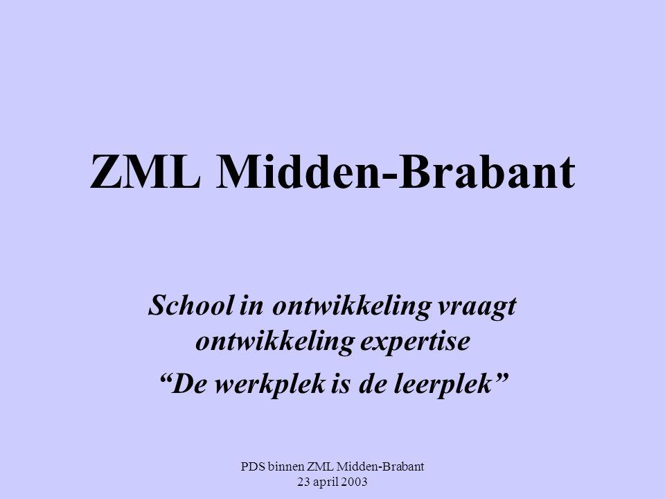 """PDS binnen ZML Midden-Brabant 23 april 2003 ZML Midden-Brabant School in ontwikkeling vraagt ontwikkeling expertise """"De werkplek is de leerplek"""""""
