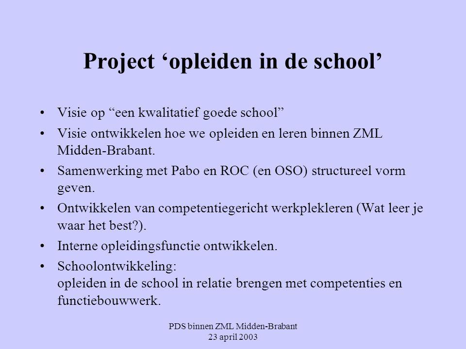 """PDS binnen ZML Midden-Brabant 23 april 2003 Project 'opleiden in de school' Visie op """"een kwalitatief goede school"""" Visie ontwikkelen hoe we opleiden"""