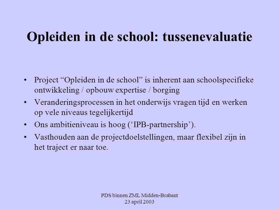 """PDS binnen ZML Midden-Brabant 23 april 2003 Opleiden in de school: tussenevaluatie Project """"Opleiden in de school"""" is inherent aan schoolspecifieke on"""