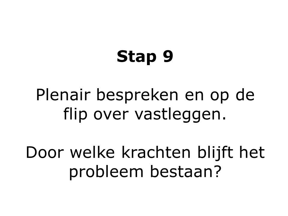 Stap 9 Plenair bespreken en op de flip over vastleggen. Door welke krachten blijft het probleem bestaan?